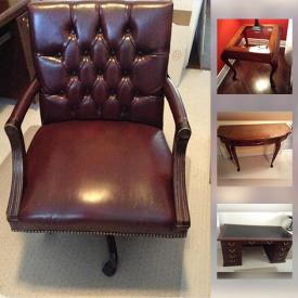"""MaxSold Auction: This online auction features Norwalk reclining arm chair, walnut side table, Liora Manne rug, mirror, Blanket Box, Bombay Hall Chest, """"Miniature"""" House, Sauder Executive desk, Executive Office Chair, Russell G Brown Bowl and much more!"""