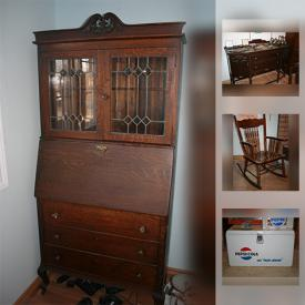 MaxSold Auction: This online auction features furniture including Antique Barrister Bookcase Cabinet, View-master, Antique Wardrobe, Antique Dresser, Sklar Peppler Wing Chair, Antique Secretary Desk, Wooden Floor Mirror, Antique Church Bench, Antique Wood Buffet, Antique Rocking Chair, Antique Cedar Lined Trunk, and much more!