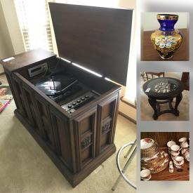 """MaxSold Auction: This online auction features VINTAGE: Stereo console; upholstered chair. FURNITURE: Wood and metal coffee and end table, patio. COLLECTIBLE: Cars; tea cups sets; china florals. CRYSTAL/GLASS: Cut/pressed; blue hand painted vases; red jar; pitcher and glass set; stemware; depression; ruby flash thumbprint desert bowls; art. CHINA; Royal Albert """"Old Country Rose""""; misc. serving pieces. Silver plate. Westinghouse fridge; Tools. Yard and Garden. Camping and much more!"""