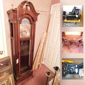 MaxSold Auction: This online auction features tool boxes, tools, air compressor, car cover, faux flowers, tea set, mirrors, wall art, goblets, chess set, chandelier, figurines, doll collection, cabinets, flatware, stereo and speakers, grandfather clock and much more.