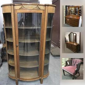 MaxSold Auction: This online auction features collectibles such as signed Luciano Pavarotti album, art such as signed Jack Matott prints, oil on board, and Victorian advertising postcards, furniture such as VanDenBerg Bros maple chest dresser, antique curved oak curio hutch, vintage wicker stool, modular storage, and 6 Hitchcock style dining chairs, fine china such as Noritake, English bone china, and Spode, vintage hand tools, Black & Decker radial arm saw, kitchen appliances, copper serving pieces, costume jewelry, crystal glassware and much more!