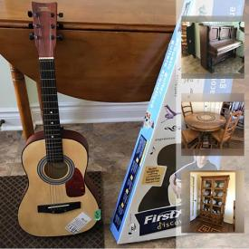 """MaxSold Auction: This online auction features a wooden upright piano, First Act child's guitar. FURNITURE: Living room; dining room - Mexican round and rectangle tables with inlaid design and chairs, china cabinet, cupboard; outdoor wicker resin set; two maple dressers with hutches; bedroom including a MCM chest of drawers; Pine king bed. SPORTING GOODS: Lifetime basketball goal; cross country skis and Soloman boot, toboggans. COLLECTIBLE: Music boxes; water globes. YARD AND GARDEN: Lawnboy mower; Karcher power washer; Ridgid shop vac; rain barrel. FITNESS: Weights; treadmill. ELECTRONICS: Samsung 54"""" HD TV; Bose and Sony sound systems and more!"""