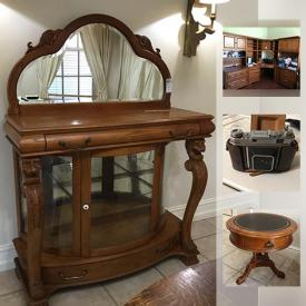 MaxSold Auction: This online auction features FURNITURE: Dining room - Wood and rattan sideboard, table and chairs, wood and metal sideboard, dining chairs; carved wood bar; wood and upholstered sofa and love seat; Office wall unit; carved wood and glass table. COLLECTIBLE: Furby. STAINED GLASS. CHINA: Wedgwood, Franciscan, Haviland Limoges, Portmeirion, Lanox. GLASS/CRYSTAL: Stemware; serving pieces. APPLIANCES: Roper fridge, Kenmore washer and dryer. Tools/work bench and much more!