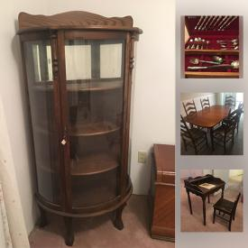 MaxSold Auction: This online auction features a Curio cabinet, Vilas maple dining table and 6 chairs, Japanese Plate Set of 12, Jimi Hendrix albums, Randy Fehr artwork and much more!